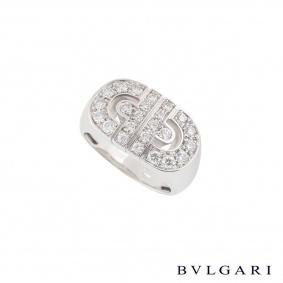 Bvlgari White Gold Diamond Parentesi Ring Size 51 AN853699